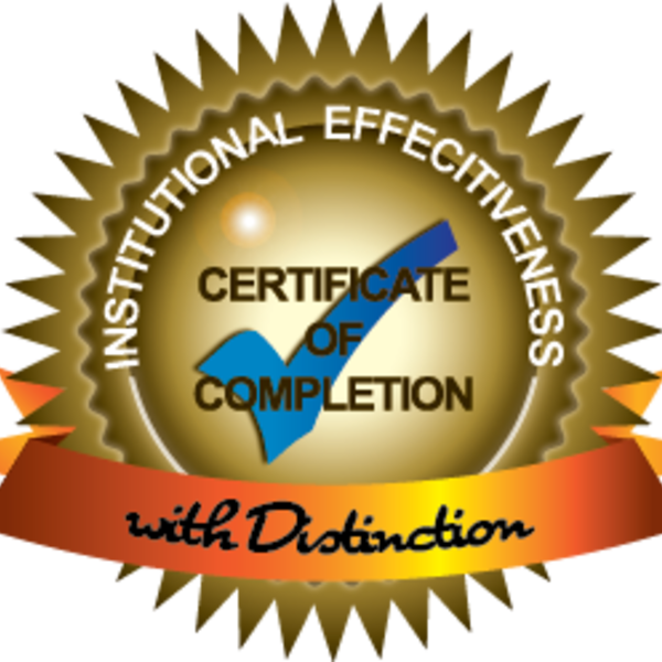 Institutional Effectiveness Certificate Program Completion with Distinction