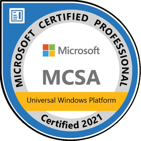 MCSA: Universal Windows Platform - Certified 2021