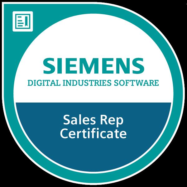 Siemens Digital Industries Software Sales Rep Certificate 2020