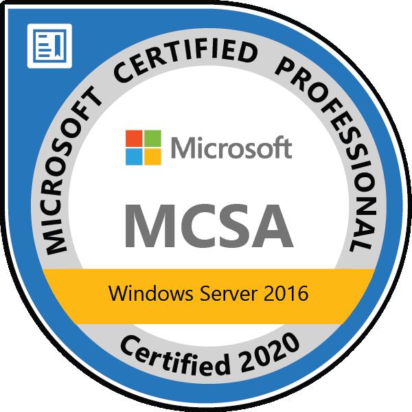 MCSA: Windows Server 2016 - Certified 2020